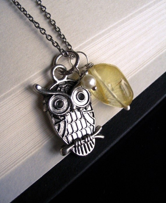Wise Owl - Yellow Citrine and Pearl Oxidized Charm Necklace, Mothers Day Gift for Mom