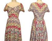 1950s Vintage Paisley Print Day Dress