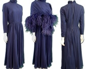 Vintage 1970s Navy Pants Dress with Ostrich Stole