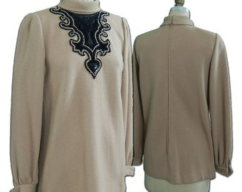 Andre Laug  1970's Embroidered Wool Blouse