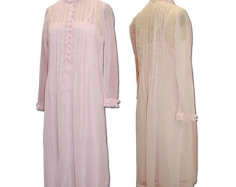 1970s Vintage Pale Pink Couture Silk Dress