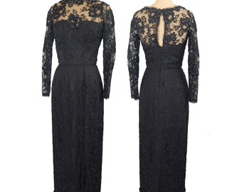 Black Beaded Lace Dress