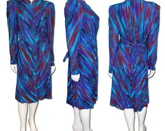 1980s Vintage Pauline Trigere Silk Paint Brush Dress