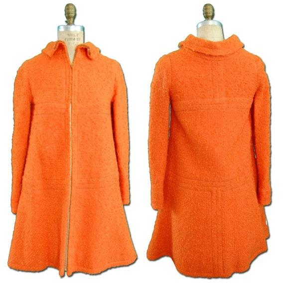 1960s Vintage Orange Wool Coat - Petite