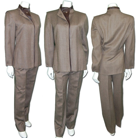 1970s Vintage Basile Wool and Leather Suit