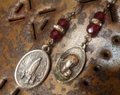 Our Lady of Fatima - Vintage Religious Medal Assemblage Earrings