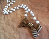 Brass Bow and White Beads Necklace
