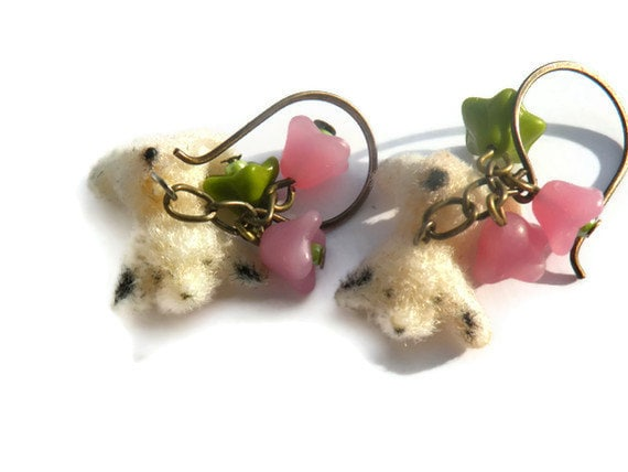 Puppies and Posies  - Vintage Dog Charm Earrings