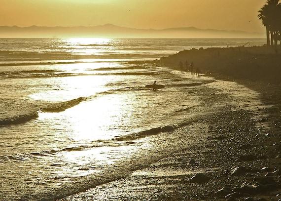 Surfer at Sunset-California Sunset-Ventura Sunset-Beach Sunset-Fine Art Photography-Wall Art -Home Decor-Coastal Home