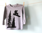 Jumping Snowboarder Winter Snowy Mountain Toddler Kid Tshirt, Hand-Printed Lithograph, Heather Grey, Long Sleeve, 2T 4T Made to Order