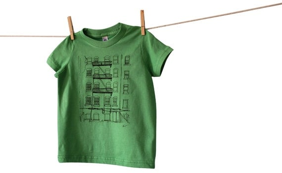 Brooklyn Alley Toddler Tshirt, Hand-Printed EcoFriendly Lithograph, American Apparel Tee, Grass Green, 2T is Ready to Ship