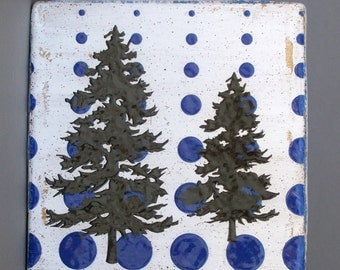 Ceramic Pine Tree Wall Tile