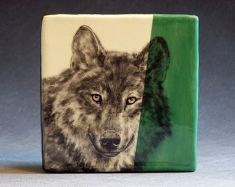 Hand Painted Grey Wolf Portrait Wall Tile Leaf Green