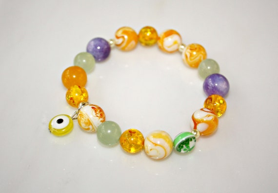 SALE Evil Eye Bracelet - Sunshine Yellow, Puplre Lilac and Mossy Green Glass Beads by Mei Faith