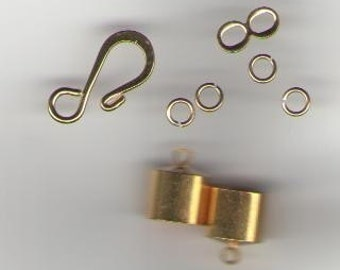 Gold Kumihimo Findings Kit Clasp Cones -- 9 mm