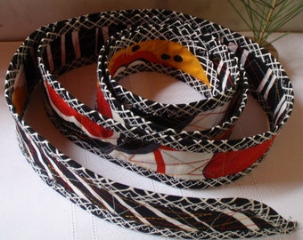 Wearable Art Reversible Sash Belt Handmade by Me - Fits up to a 34 Inch Waist - ON SALE - Black,White,Red, Mustard