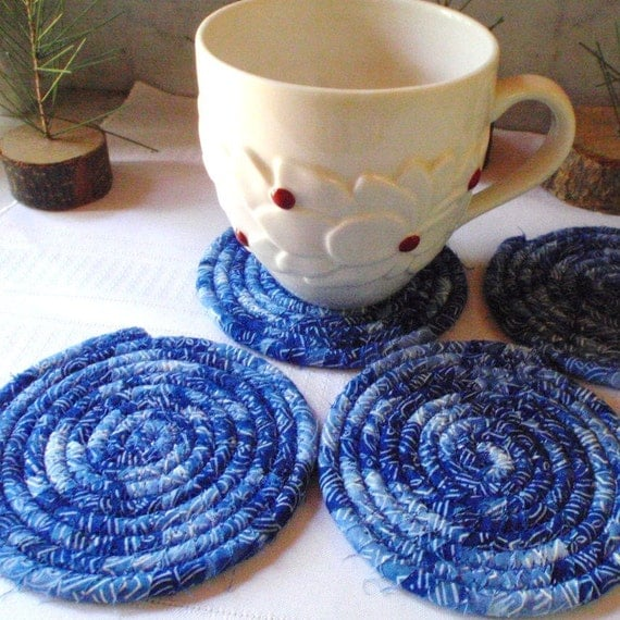 Blue Woodblock Coiled Coasters - Set of 4