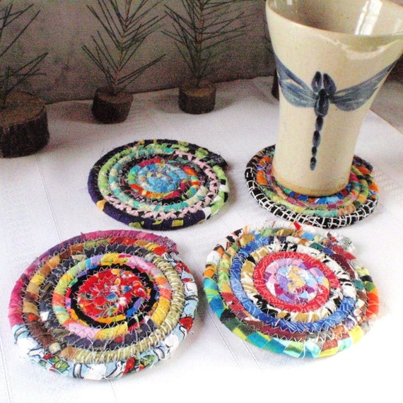 Multicolored Bohemian Coiled Coasters - Set of 4