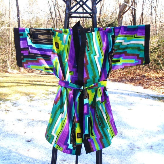 Kimono Robe - Nazca Lines - Size Extra Large - Ready to Ship