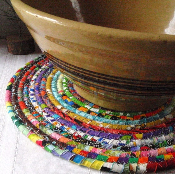 Bohemian Coiled Multicolored Mat, Chair Pad, Hot Pad, Trivet - LARGE ROUND