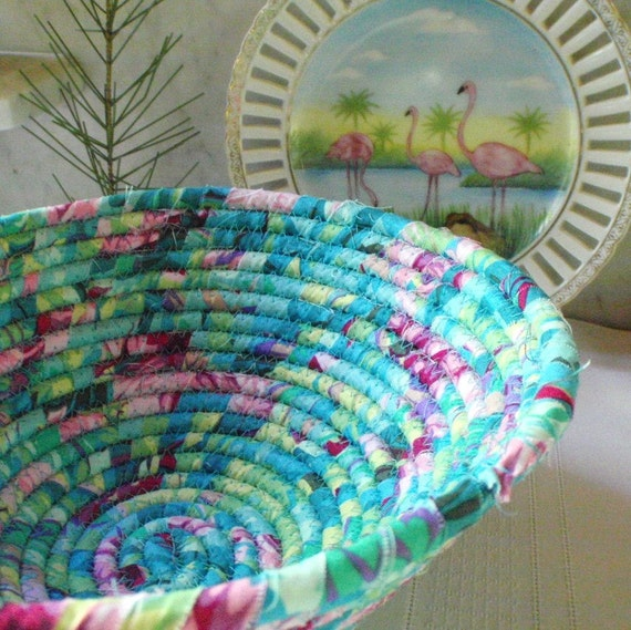 Coiled Fabric Basket - South Beach