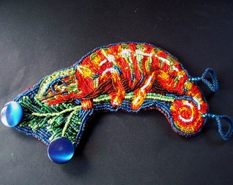 Chameleon bead embroidered bracelet