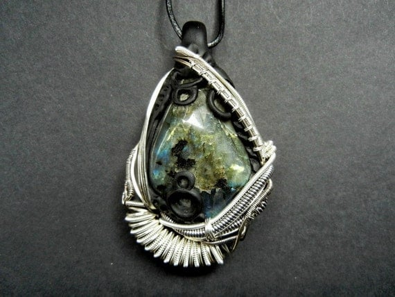 Labradorite polymer clay and silver plated wire wrapped pendant