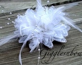 Feather Flower- Vintage White Feather Beads Lace Flower- Millinery Flower- DIY Flower for Fascinator and Crafts- 4 Inch Flower