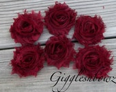 Set of SIX Shabby Frayed Vintage look Chiffon Rosette Flowers- BURGUNDY