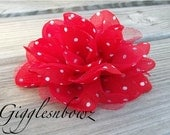 New Item Gorgeous POLKA DOT Chiffon and Tulle Flower- Red w White Dots