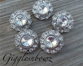 Clear Rhinestone Buttons- 25mm Plastic Acrylic Rhinestone Buttons- 5pc Headband Supplies- Diy Wedding- Brooch Bouquet