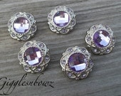 Sale!! Rhinestone Buttons- 5 Pc Vintage Style Lavender 21mm- Hair Bow Centers, Headband Supplies, Diy Supplies, Rhinestone Buttons