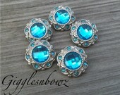 Sale!! Rhinestone Buttons- 5 Pc Vintage Style Turquoise 21mm- Flower Centers, Diy Headband Supplies, Hair Bow Supplies