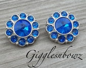 New Set of TWO Royal Blue Tiny Acrylic Rhinestone Buttons- 18mm