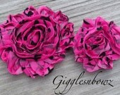 TRY ME- New Petite Size-Set of TWO Shabby Frayed Vintage look Rosette Flowers- Hot Pink Swirl Damask