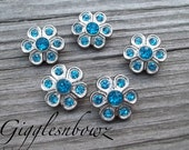 Brand New Set of FIVE Tiny Acrylic Rhinestone Buttons PETITE Size-14MM TURQUOISE Daisy