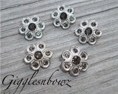 Brand New Set of FiVE Tiny Acrylic Rhinestone Buttons PETiTE Size-14MM BROWN Daisy