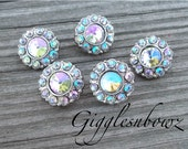 Sale Sale!! Brand New Set of FIVE Tiny Acrylic Rhinestone Buttons PETITE Size- AB Iridescent 15mm