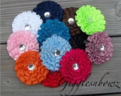 Set of 10- Pleated Grosgrain Ribbon Flowers- Assorted Colors