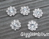 NEW Set of FiVE Clear Rhinestone Flatback Buttons 12mm TiNY PeTITE SiZE- Silver Metal Base