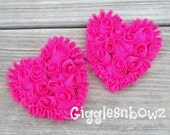 NeW SMaLLeR SiZE- Set of 2 Beautiful Shabby Chic Chiffon HEART Appliques- Hot PiNK  3 inch