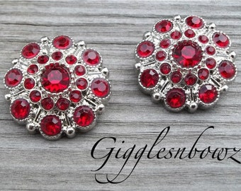 NEW Set of Two LIMITED EDITION Red Acrylic Rhinestone Buttons 27mm