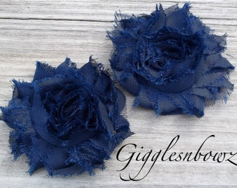 Set of TWO Shabby Frayed Vintage look Chiffon Rosette Flowers- NAVY BLUE