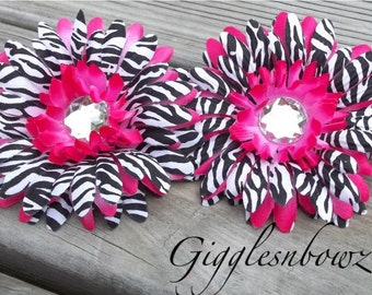Set of TWO Rhinestone Centered Silk Gerbera Daisy Flowers HOT PINK Zebra Layered