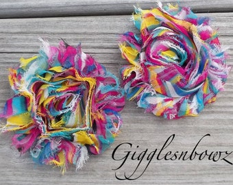Set of TWO Shabby Frayed Vintage look Chiffon Rosette Flowers- FUNKY Tie DYE