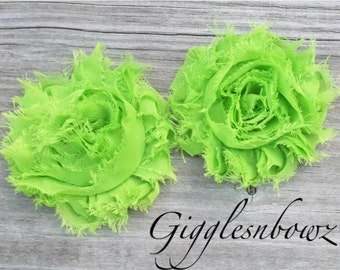 Set of TWO Shabby Frayed Vintage look Chiffon Rosette Flowers- LIME GREEN