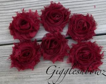 Set of SIX Shabby Frayed Vintage look Chiffon Rosette Flowers- BURGUNDY