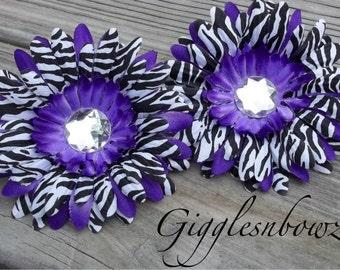 Set of TWO Rhinestone Centered Silk Gerbera Daisy Flowers PURPLE Zebra Layered