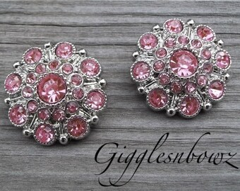 NEW Set of Two LIMITED EDITION Pink Acrylic Rhinestone Buttons 27mm