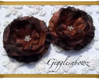 Set of 2 Gorgeous BROWN Ruffled Rhinestone Flowers